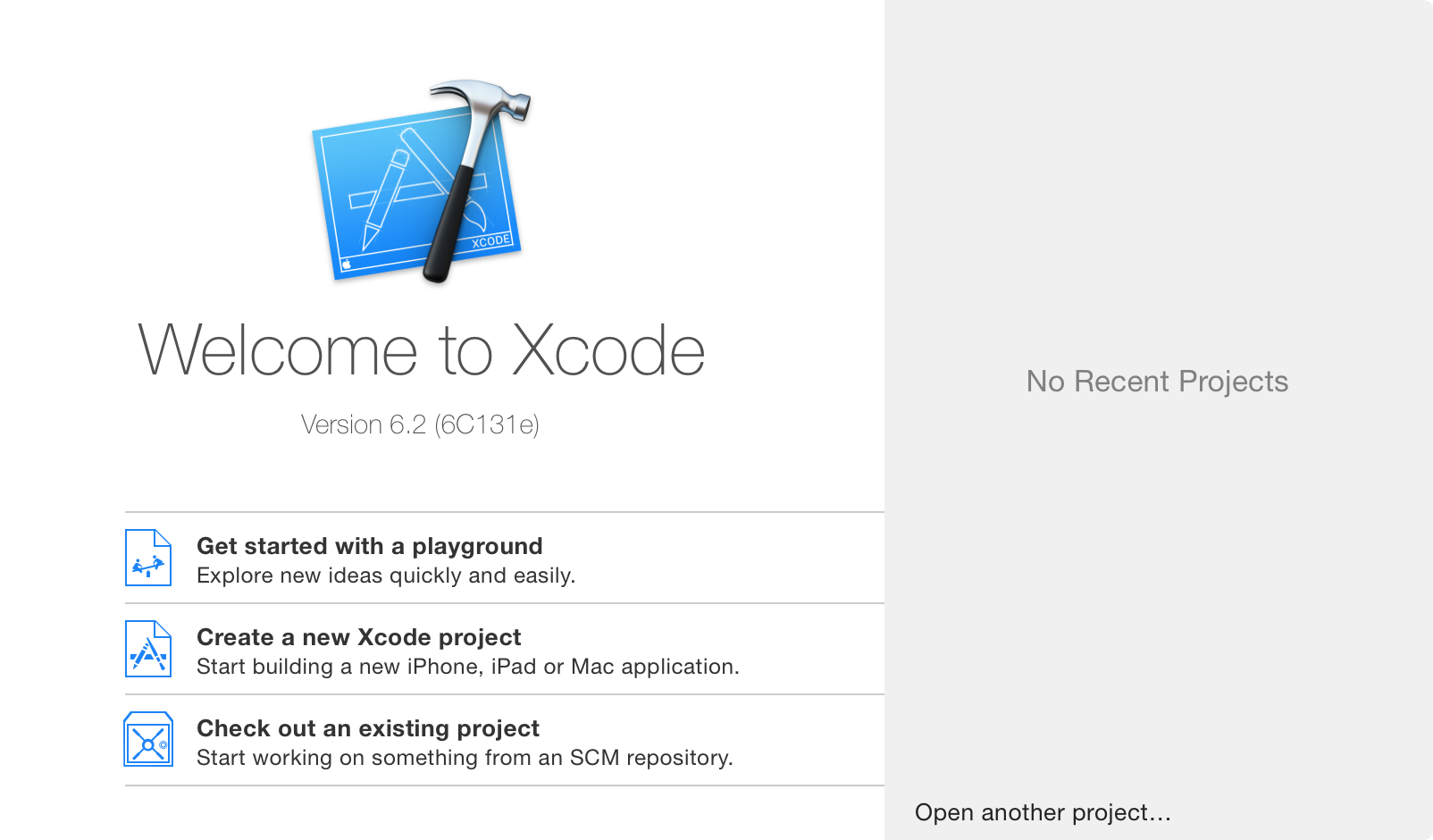 Xcode project create screen.