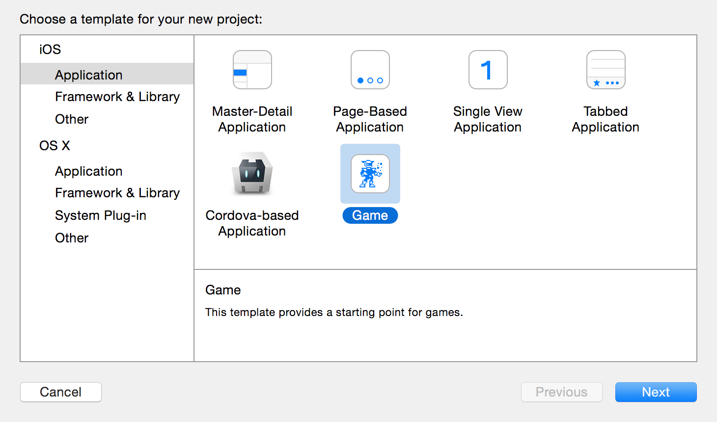 Xcode project template screen.