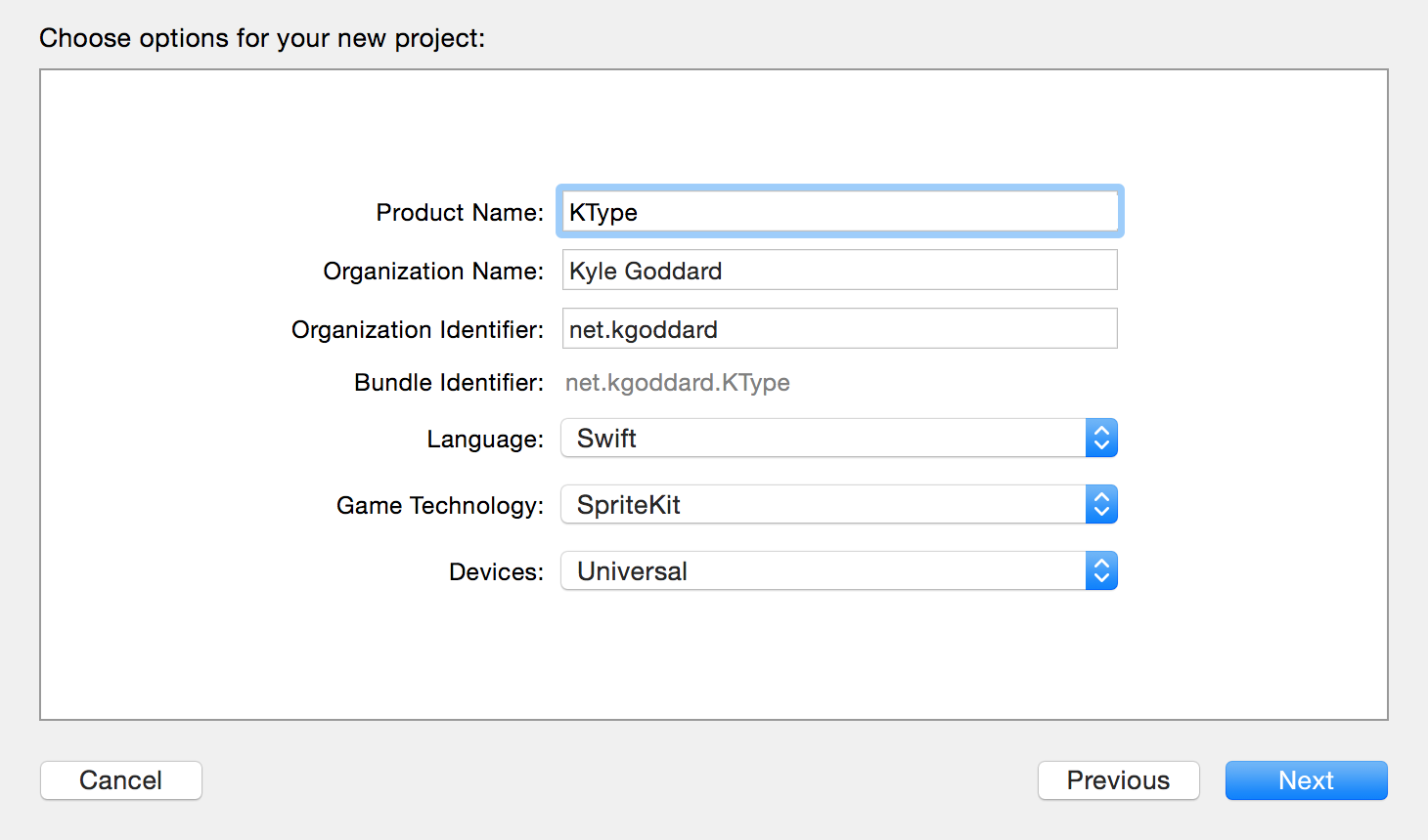 Xcode project options screen.
