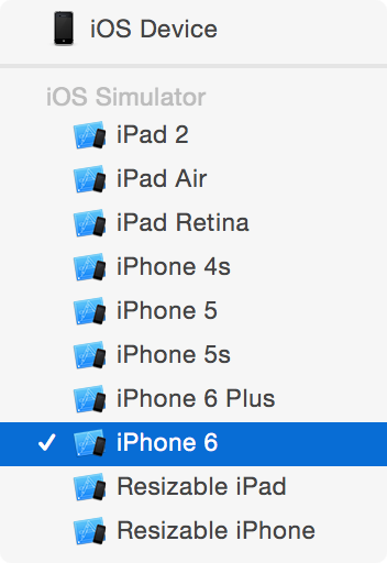 Xcode build device selection.