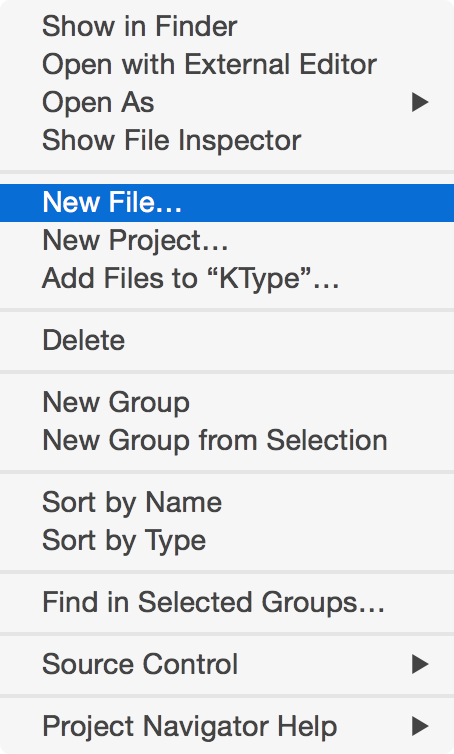 Creating a new file in Xcode.